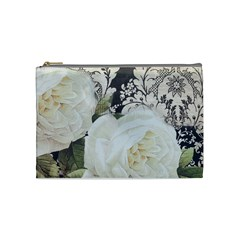Elegant White Rose Vintage Damask Cosmetic Bag (Medium)