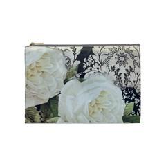 Elegant White Rose Vintage Damask Cosmetic Bag (Medium)