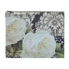 Elegant White Rose Vintage Damask Cosmetic Bag (XL)