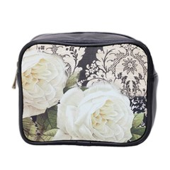 Elegant White Rose Vintage Damask Mini Travel Toiletry Bag (two Sides)