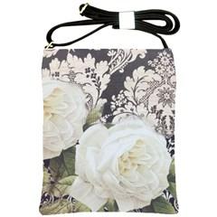 Elegant White Rose Vintage Damask Shoulder Sling Bag