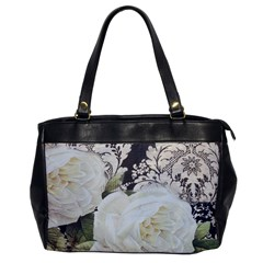 Elegant White Rose Vintage Damask Oversize Office Handbag (One Side)
