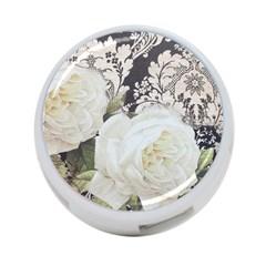 Elegant White Rose Vintage Damask 4-Port USB Hub (Two Sides)