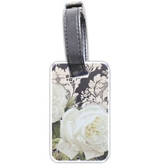 Elegant White Rose Vintage Damask Luggage Tag (Two Sides)
