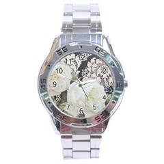 Elegant White Rose Vintage Damask Stainless Steel Watch (Men s)