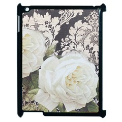 Elegant White Rose Vintage Damask Apple iPad 2 Case (Black)
