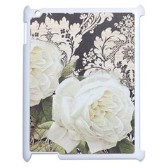 Elegant White Rose Vintage Damask Apple iPad 2 Case (White)