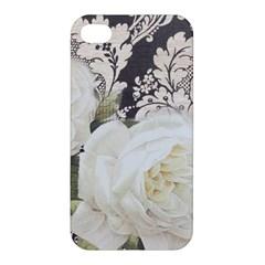Elegant White Rose Vintage Damask Apple Iphone 4/4s Hardshell Case