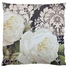 Elegant White Rose Vintage Damask Large Cushion Case (Single Sided)