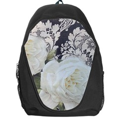 Elegant White Rose Vintage Damask Backpack Bag