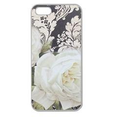 Elegant White Rose Vintage Damask Apple Seamless iPhone 5 Case (Clear)