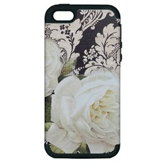 Elegant White Rose Vintage Damask Apple iPhone 5 Hardshell Case (PC+Silicone)