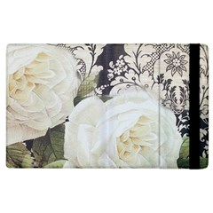 Elegant White Rose Vintage Damask Apple iPad 2 Flip Case