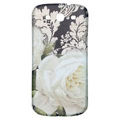 Elegant White Rose Vintage Damask Samsung Galaxy S3 S III Classic Hardshell Back Case