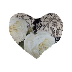 Elegant White Rose Vintage Damask 16  Premium Heart Shape Cushion