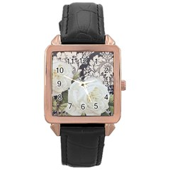 Elegant White Rose Vintage Damask Rose Gold Leather Watch