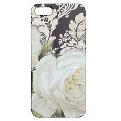 Elegant White Rose Vintage Damask Apple iPhone 5 Hardshell Case with Stand