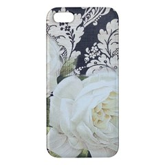 Elegant White Rose Vintage Damask iPhone 5 Premium Hardshell Case