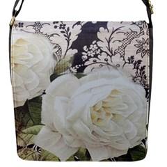 Elegant White Rose Vintage Damask Flap closure messenger bag (Small)