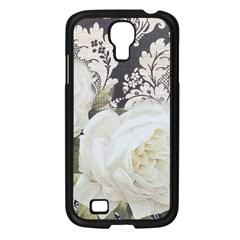 Elegant White Rose Vintage Damask Samsung GALAXY S4 I9500/ I9505 (Black)