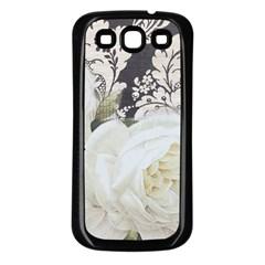 Elegant White Rose Vintage Damask Samsung Galaxy S3 Back Case (Black)