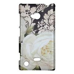 Elegant White Rose Vintage Damask Nokia Lumia 720 Hardshell Case