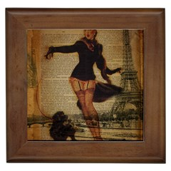 Paris Lady And French Poodle Vintage Newspaper Print Sexy Hot Gil Elvgren Pin Up Girl Paris Eiffel T Framed Ceramic Tile