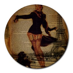 Paris Lady And French Poodle Vintage Newspaper Print Sexy Hot Gil Elvgren Pin Up Girl Paris Eiffel T 8  Mouse Pad (round)