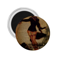 Paris Lady And French Poodle Vintage Newspaper Print Sexy Hot Gil Elvgren Pin Up Girl Paris Eiffel T 2.25  Button Magnet