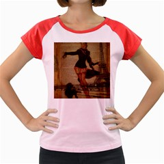 Paris Lady And French Poodle Vintage Newspaper Print Sexy Hot Gil Elvgren Pin Up Girl Paris Eiffel T Women s Cap Sleeve T Shirt (colored)