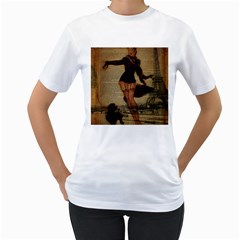 Paris Lady And French Poodle Vintage Newspaper Print Sexy Hot Gil Elvgren Pin Up Girl Paris Eiffel T Womens  T Shirt (white)