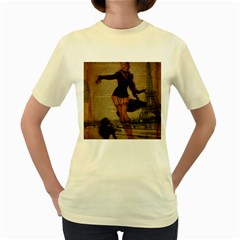 Paris Lady And French Poodle Vintage Newspaper Print Sexy Hot Gil Elvgren Pin Up Girl Paris Eiffel T  Womens  T-shirt (Yellow)