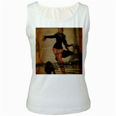 Paris Lady And French Poodle Vintage Newspaper Print Sexy Hot Gil Elvgren Pin Up Girl Paris Eiffel T Womens  Tank Top (White)