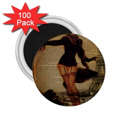 Paris Lady And French Poodle Vintage Newspaper Print Sexy Hot Gil Elvgren Pin Up Girl Paris Eiffel T 2.25  Button Magnet (100 pack)
