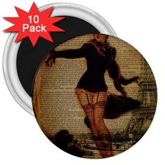 Paris Lady And French Poodle Vintage Newspaper Print Sexy Hot Gil Elvgren Pin Up Girl Paris Eiffel T 3  Button Magnet (10 pack)