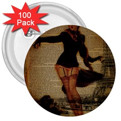 Paris Lady And French Poodle Vintage Newspaper Print Sexy Hot Gil Elvgren Pin Up Girl Paris Eiffel T 3  Button (100 Pack)