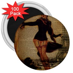 Paris Lady And French Poodle Vintage Newspaper Print Sexy Hot Gil Elvgren Pin Up Girl Paris Eiffel T 3  Button Magnet (100 pack)