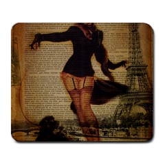 Paris Lady And French Poodle Vintage Newspaper Print Sexy Hot Gil Elvgren Pin Up Girl Paris Eiffel T Large Mouse Pad (Rectangle)