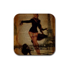 Paris Lady And French Poodle Vintage Newspaper Print Sexy Hot Gil Elvgren Pin Up Girl Paris Eiffel T Drink Coasters 4 Pack (square)