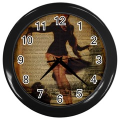Paris Lady And French Poodle Vintage Newspaper Print Sexy Hot Gil Elvgren Pin Up Girl Paris Eiffel T Wall Clock (Black)