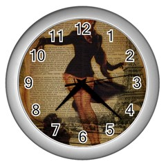 Paris Lady And French Poodle Vintage Newspaper Print Sexy Hot Gil Elvgren Pin Up Girl Paris Eiffel T Wall Clock (Silver)