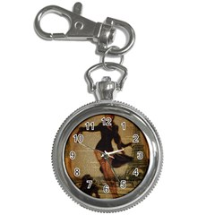 Paris Lady And French Poodle Vintage Newspaper Print Sexy Hot Gil Elvgren Pin Up Girl Paris Eiffel T Key Chain & Watch