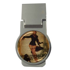 Paris Lady And French Poodle Vintage Newspaper Print Sexy Hot Gil Elvgren Pin Up Girl Paris Eiffel T Money Clip (round)