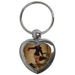 Paris Lady And French Poodle Vintage Newspaper Print Sexy Hot Gil Elvgren Pin Up Girl Paris Eiffel T Key Chain (Heart)