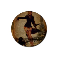 Paris Lady And French Poodle Vintage Newspaper Print Sexy Hot Gil Elvgren Pin Up Girl Paris Eiffel T Drink Coaster (Round)