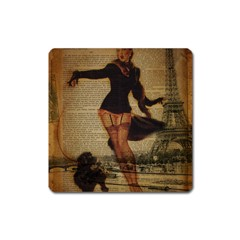 Paris Lady And French Poodle Vintage Newspaper Print Sexy Hot Gil Elvgren Pin Up Girl Paris Eiffel T Magnet (Square)