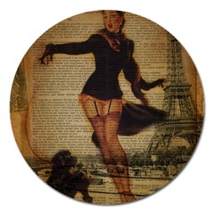 Paris Lady And French Poodle Vintage Newspaper Print Sexy Hot Gil Elvgren Pin Up Girl Paris Eiffel T Magnet 5  (Round)