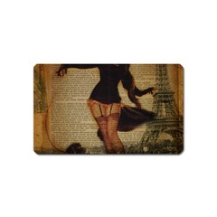 Paris Lady And French Poodle Vintage Newspaper Print Sexy Hot Gil Elvgren Pin Up Girl Paris Eiffel T Magnet (Name Card)