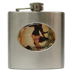 Paris Lady And French Poodle Vintage Newspaper Print Sexy Hot Gil Elvgren Pin Up Girl Paris Eiffel T Hip Flask