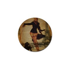 Paris Lady And French Poodle Vintage Newspaper Print Sexy Hot Gil Elvgren Pin Up Girl Paris Eiffel T Golf Ball Marker 4 Pack